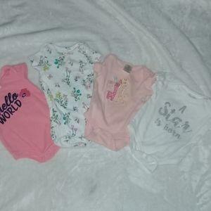 4 Girl onesie size 0-3 mos.